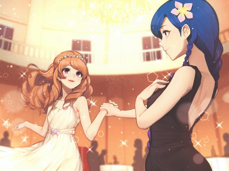 *Helena and Kandace were learning some new ballroom dances from Noloty. They giggled as they held ha