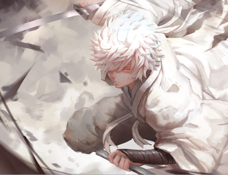 *Gintoki was at a far off distance working to help a client when he got the distress call from his w