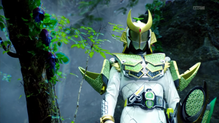 Donning a white samurai armor, Kai walks through the woods as he tries to find his way to the new wo