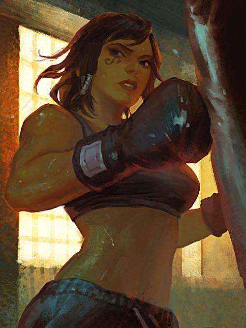*Practising her kickboxing skills* 695