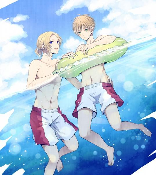 *Kinzou and Keiichi had been watching the hilarious banana raft chase from the waters and were glad