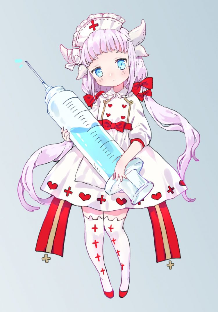 * Having found a cute nurse outfit that actually fit her. She wanted to help and learn how to make o
