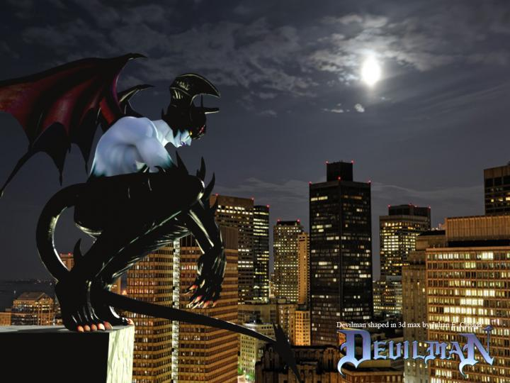 *High above the city of Akiba. Devilman was curiously watching a teenage Queen Hild amuse herself an