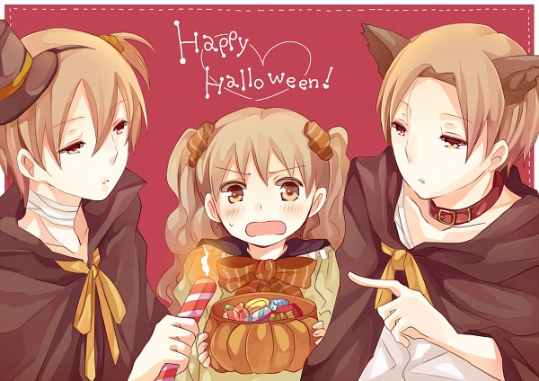 *The twins spray paint their own hair and their younger sisters to match the Halloween pumpkin and f