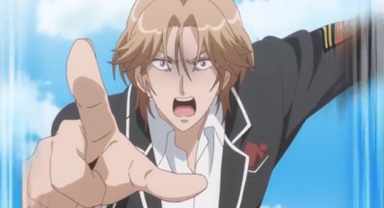 *clearly surprised by her sudden appearance. He points and practically stutters trying to form his s