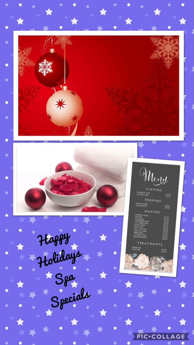 Happy Holidays from The Purple Orchid Spa!! Come and enjoy these incredible Christmas Specials!! 54C