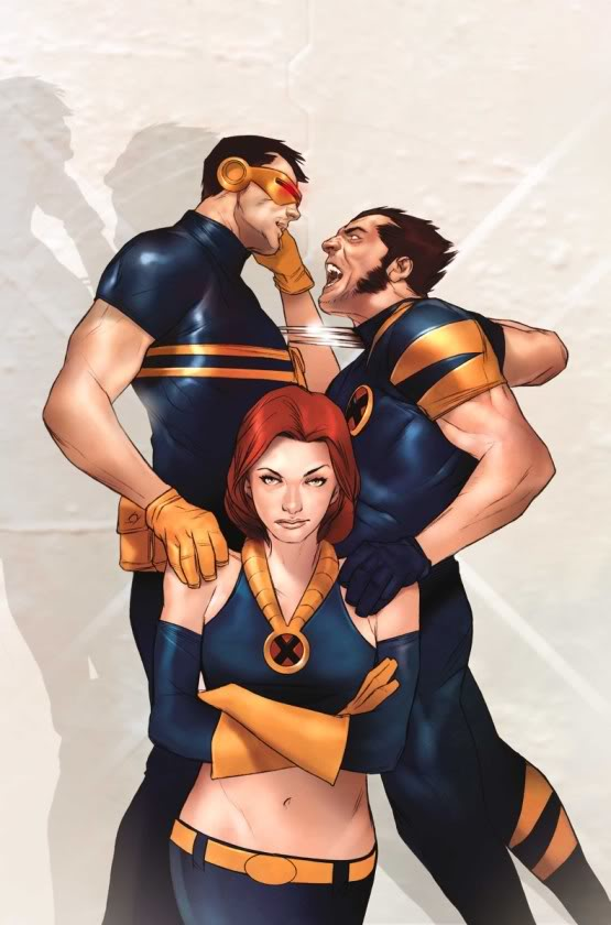 With Cyclops and Wolverine…two of my teammates…Ahem! *clears throat* …. and a litt