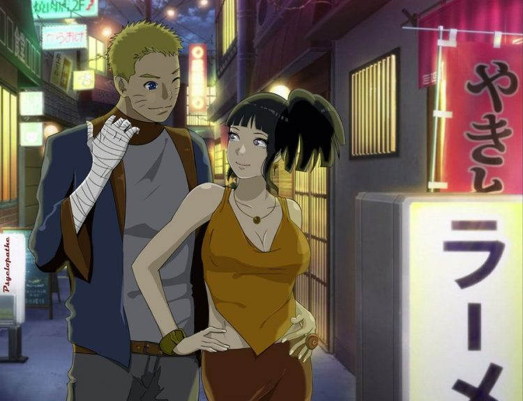 -she blushes as she walks into the Nightclub with Naruto, with her hair having been done up recently