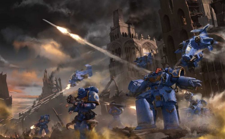 Moving swiftly through the slaughter, bolters blazing as they came. Brought a Xenos Titan Warlord cr