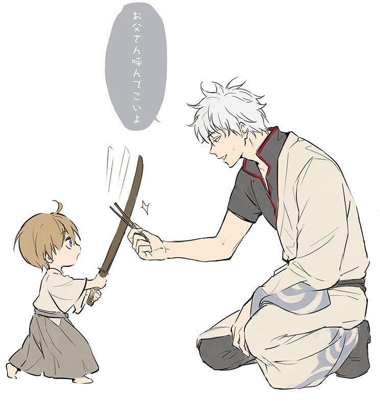 *Rintaro playing with his grandfather Gintoki* @shiroyassha 28c5cbfecaec6bd28d52083d8b1e33fd