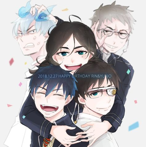*An old photo with daddy Gin, Father Fujimoto, mommy Helena and my twin Yukio. @shiroyassha @sweetsu