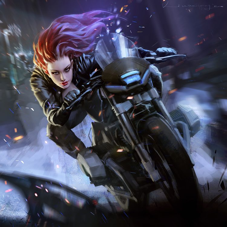 *Adding her adrenaline rush with speed* Motocycle