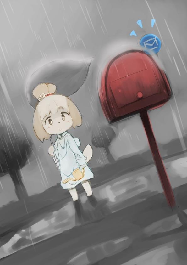It's been raining all week! The postman must have it hard. Shizue.(Doubutsu.no.Mori).full.1577