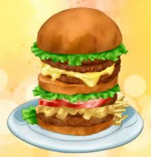 *brings out some burgers and fries for the customers, he chuckles as the hungry bunch that enters th