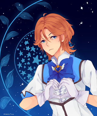 *He transforms into the Flashing Prince, Battle Lover Cerulean and showers blessings on the married