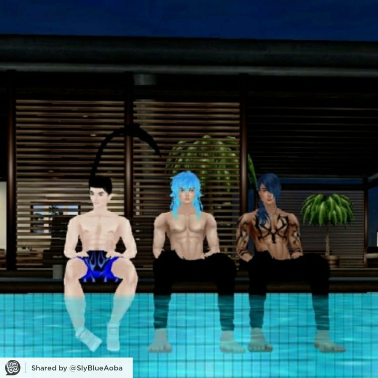 Chilling by the pool with husband Jaku and brother in law Rin 61568081_307058813545780_6636707452895