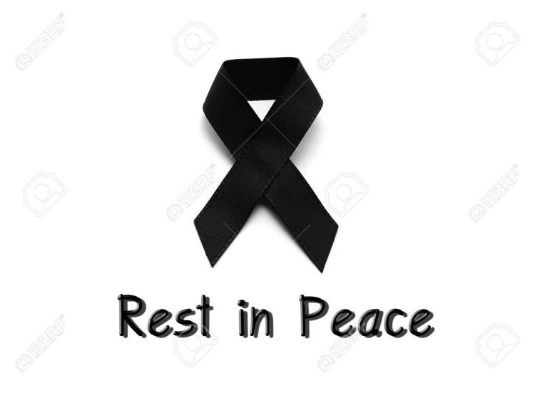 Black ribbon for mourning with rest in peace text