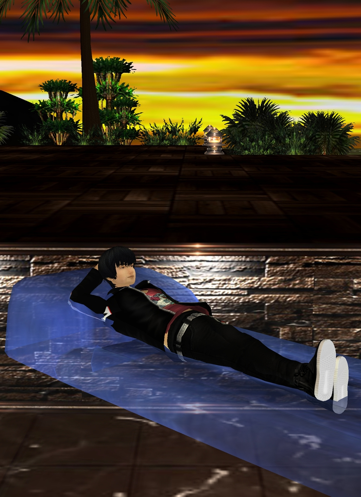 *Closing his eyes he relaxed at the sounds of the water making waves as the wind blew around him as