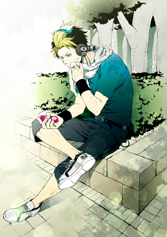 *Relaxing after a morning jog around the dorm and areas of the academy. Listening to some good music