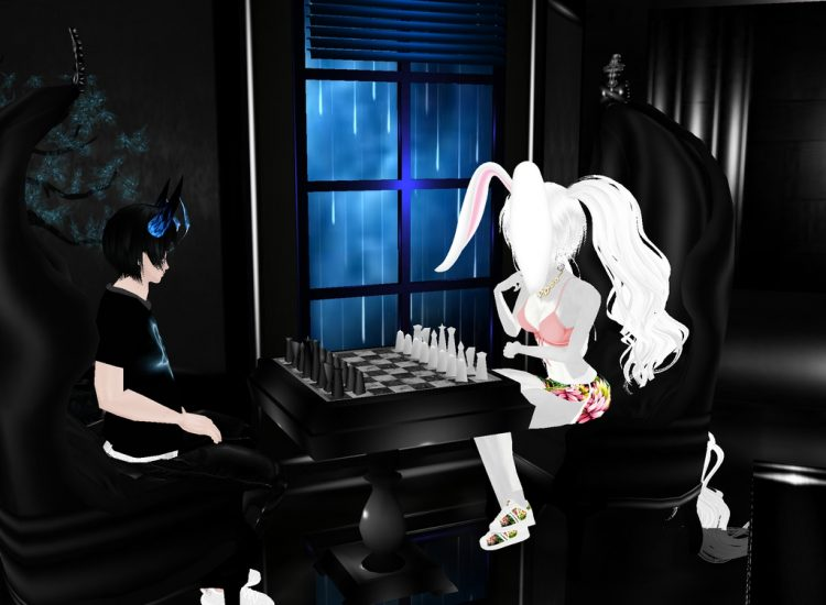 @hottotouchsugarfang *In the lounge room playing chess with Rin bro.* ginkanrinIMVUlounge