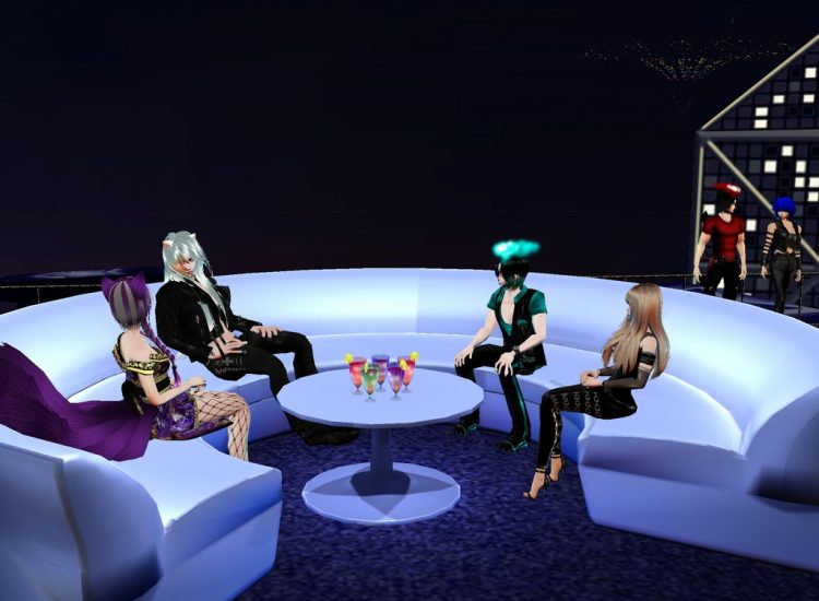 *Sitting down for a nice talk at the IMVU Lounge with Ren, Yukio and Ali while Night and Haru observ