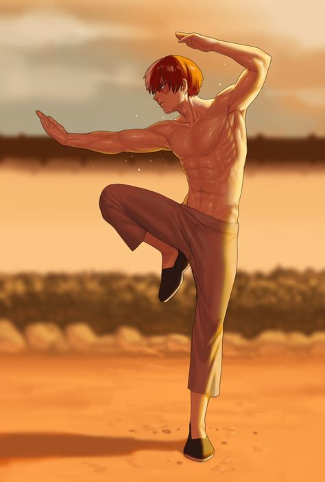 *Practicing in the back yard of the dojo. He could hear that the students inside had turned on the t