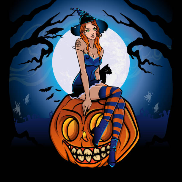 Sexy pinup witch with black cat sitting on smiling pumpkin.