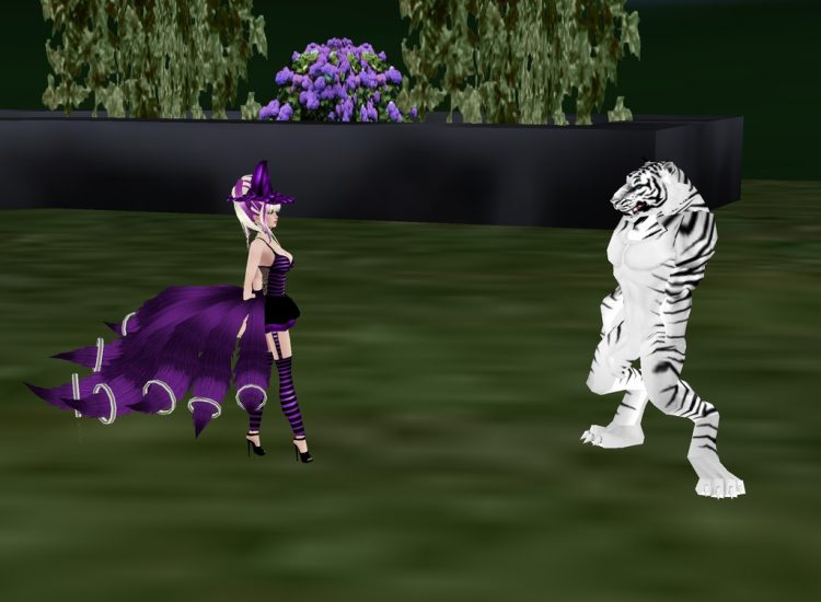 *Hubby Leo in tiger form and me in a little witch outfit.* @charmingsilver renandleohalloweenimvu