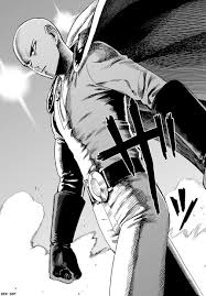 *At that very moment Saitama is flying towards them holding up another plane he found intact. He had