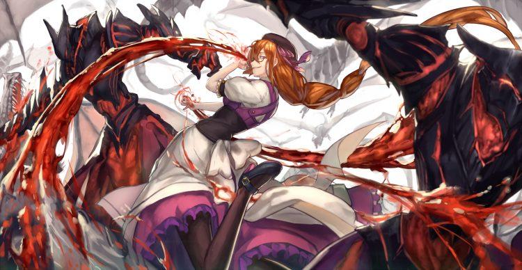 blood, dress, glasses, long hair, pixiv fantasia, ryuuzaki itsu