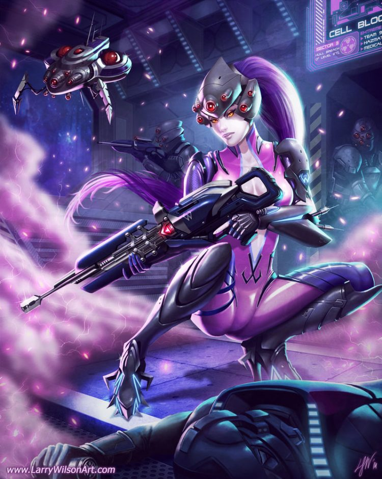 *With weapon close enough to grab and aim at whatever comes at her, Rika with precise caution and pa