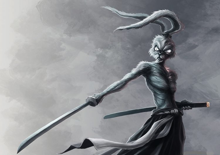 *He points at a skinny looking samurai type rabbit.* I sure hope he's with us! Could he be an
