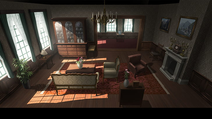 *An area for waiting, relaxing, communing and quiet study.*artwork-anime-room-interior-wallpaper-pre