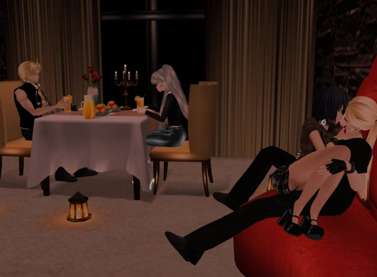 *On the cruise ship, Tessa, Ed, Saya and Al are enjoying the Valentine's Day special.* @alchem