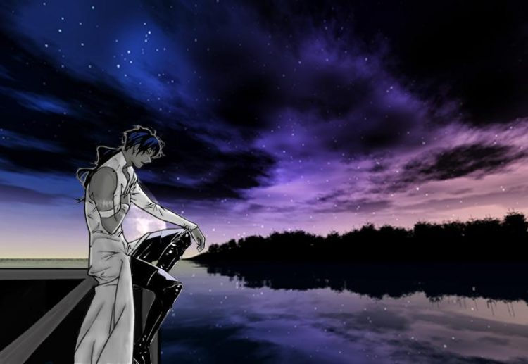 *He finds his way to the roof of the medical center. He sits there quietly trying to get a grip on t