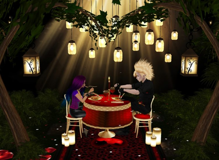 *Having a fine Valentine's Day dinner in the restaurant's courtyard.* @hellcommanderyuki