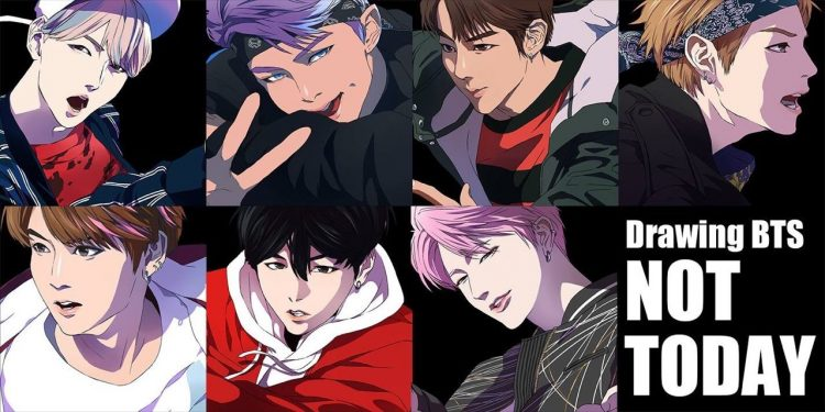 *(anime) BTS head to a Sound World record store in Mini Midi City to sign autographs and take photos
