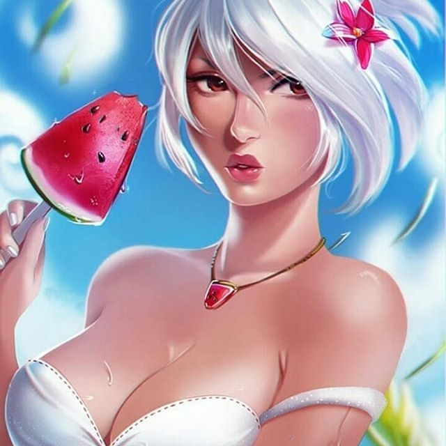 *It's early and sunny so Ginko stops by the beach. She's eating a delicious watermelon w