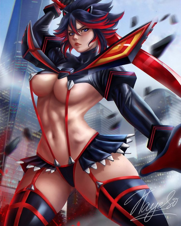 *Daughter Ryuuko @blacknekoshinigami was sent to umm shop for some decent clothes and patrol the are
