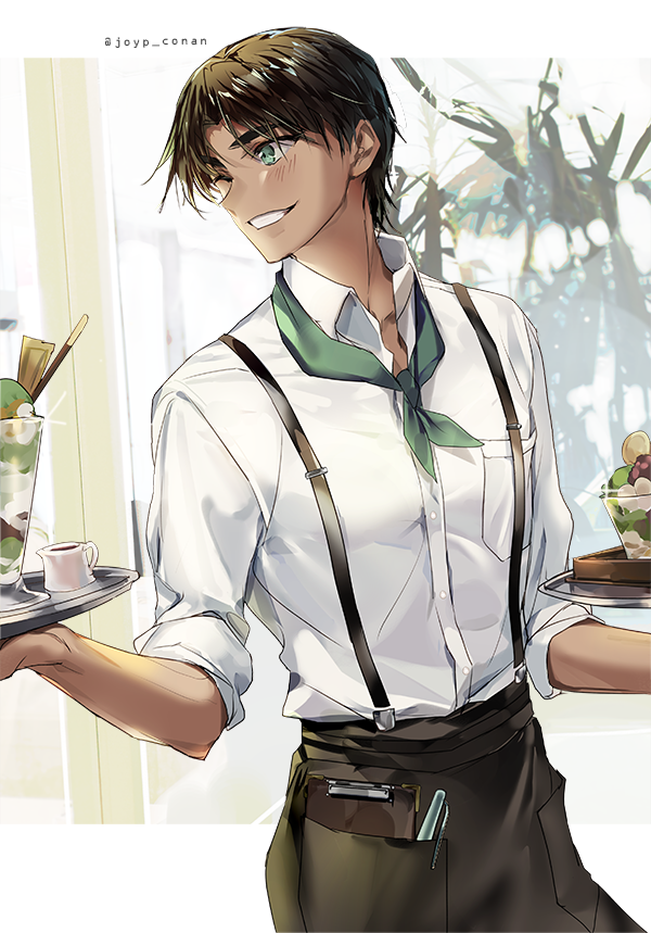 *Helps out with the influx of people coming in for sweets at the bakery.* Yes, we have green parfait