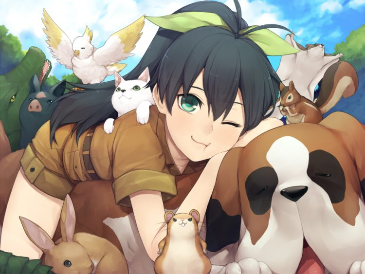 *Daughter Hibiki was deployed to help take care of the cute pets at the shelter.* @idolmaster Ganaha
