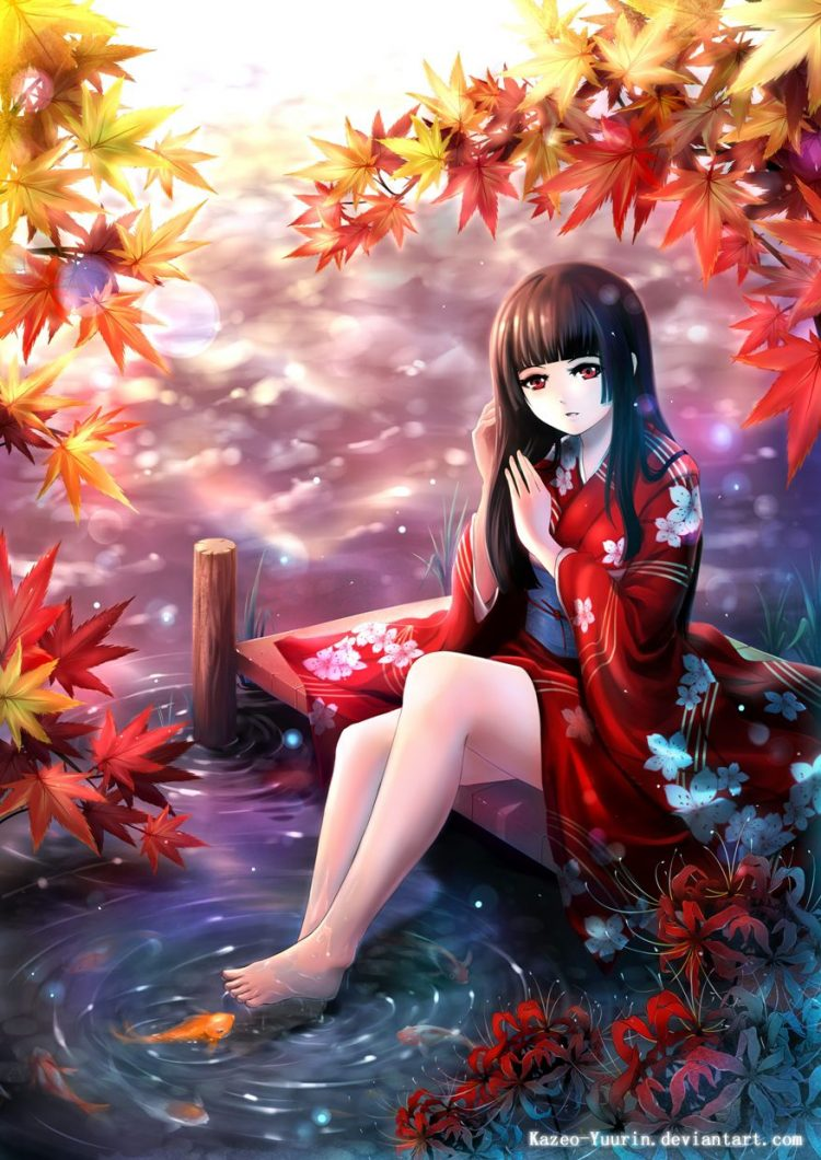 *Visits the Crystal Mountains area and stops by a spring where she washes her feet and enjoys a peac