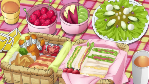 *He sets up everything for the picnic.* 0cebacc7d798e5e426e61b574f851bb6