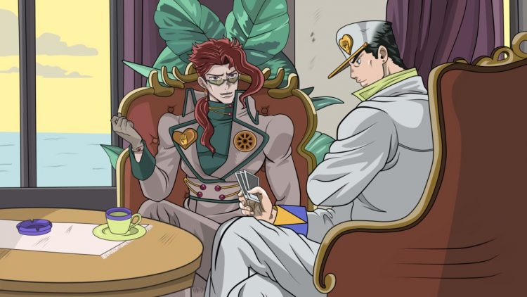 *Jotaro and Kakyoin get some pastries while they wait inside for the others to finish picking up the
