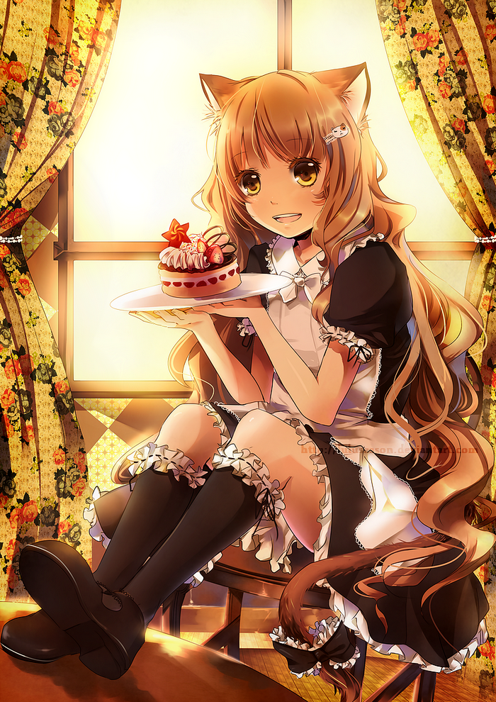 *After class, she went to her part-time job as a maid at SugarSweet bakery. It was on her schedule.