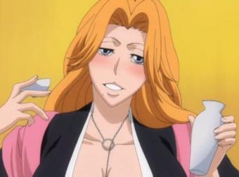 *Getting a taste of sake while she's getting the snacks and birru.* Mmm delish! Rangiku_drunk