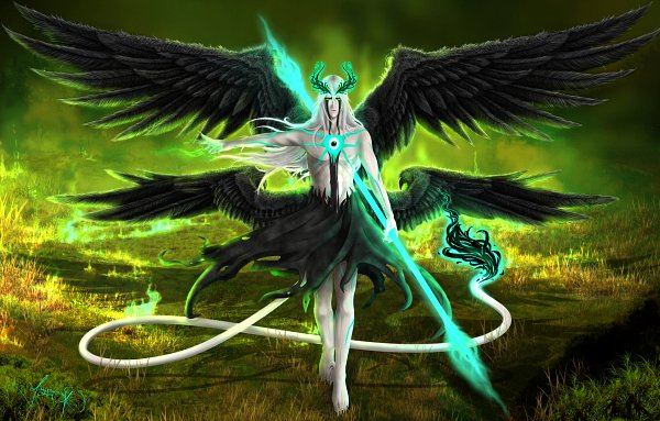 *Roaming the the spirit world. His steps frighten some of the souls that have just arrived. He looks