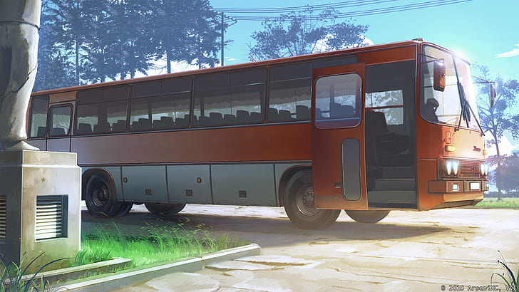 *The bus Roronoa was driving from Sakura Lane's bus stop to Funlandia, was ready for those who