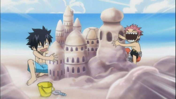 *As he watches girls at the beach, he turns, only to see what Grey and Naruto are doing.* What the&#