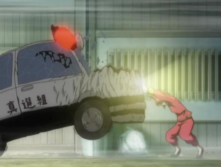 *Drops his cigarette.* KAGURAAAAAAAAAAAAAAAAAAAAAA!!!! I said stop that car! I didn't say to b